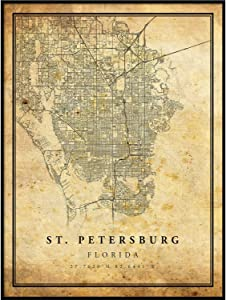St. Petersburg map Vintage Style Poster Print | Old City Artwork Prints | Antique Style Home Decor | Florida Wall Art Gift | Old map Print 8.5x11