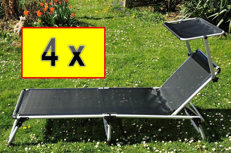 liege 4 st ck sonnenliegen mit sonnendach dach fertig montiert 4x premium strandliegen. Black Bedroom Furniture Sets. Home Design Ideas