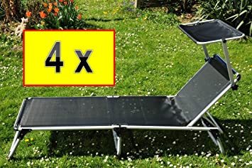 4 X Feldbett Massiv Und Stabil 4 Stück Sonnenliegen Mit