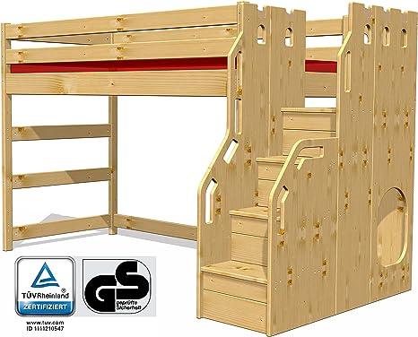 Litera con escalera muebles de madera maciza, GS/TÜV + FSC® certificados: Amazon.es: Ropa y accesorios