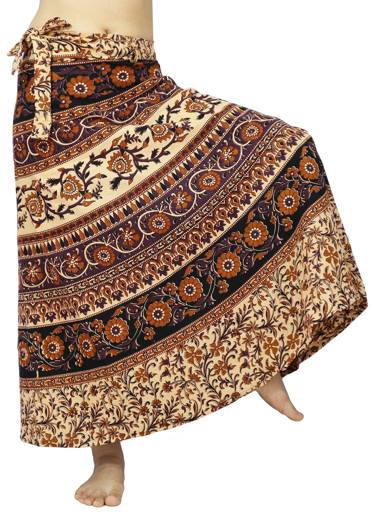 Lovely Creations Women's Long Cotton Boho Bohemian Hippie Indian Wrap Skirt (B Purple Orange)