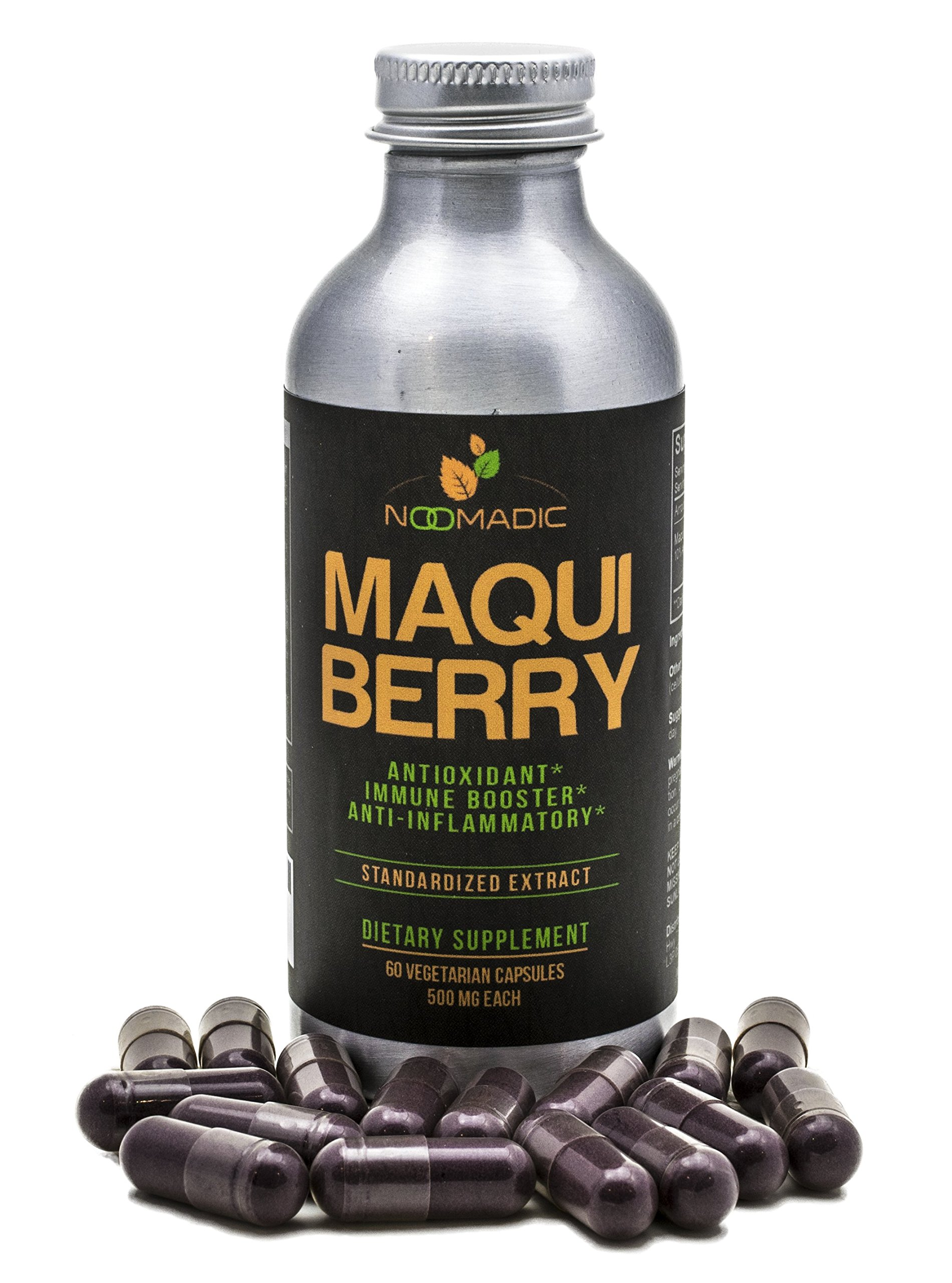 Noomadic Maqui Berry Capsules, Antioxidant (High ORAC), Anti-Aging, Immune Booster, 10% Anthocyanins, Standardized Extract