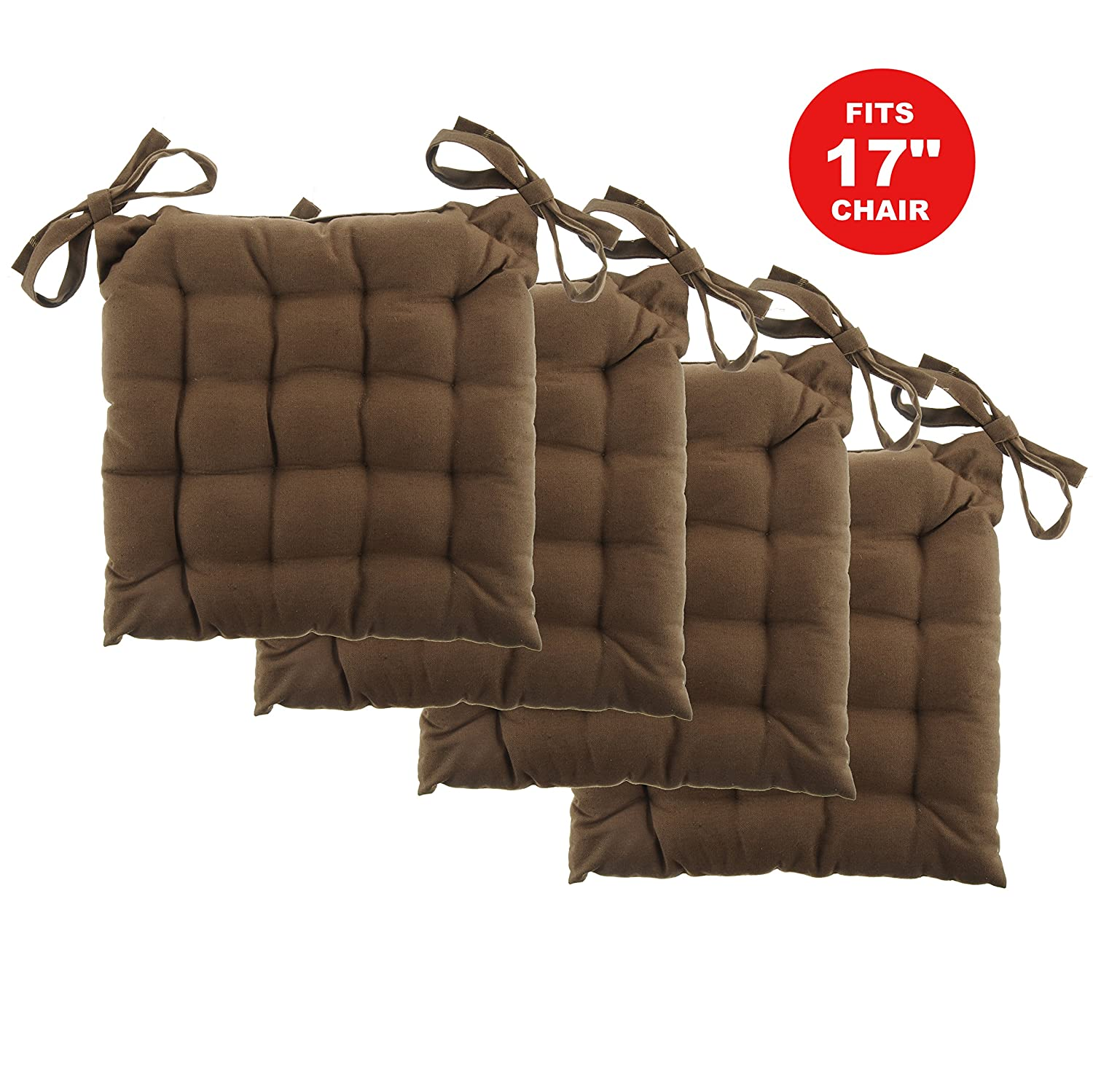 """White Dove Chair Pads - Cotton Canvas - Value 4 Pack - Fits 17"""" Chair - Solid Color - Classic Design, by Unity (French Toast)"""