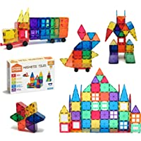 STEAM STUDIO Magnetic Tiles 120pcs Set Including Two Cars, Secured with Rivets, BPA Free Kids Toys, Rainbow Colours…