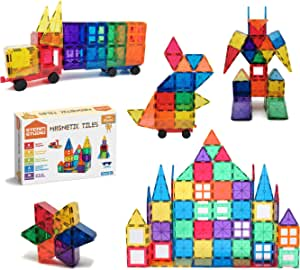STEAM STUDIO 120pcs Magnetic Tiles Including Two Cars, Secured with Rivets, BPA Free Kids Toys, Rainbow Colours Building Blocks Toddler Toys for Boys Girls, Building & Construction