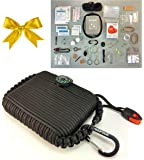 Paracord Survival Grenade Tin (55pc)--Wilderness Emergency Disaster First Aid Preppers Kit--65 Feet Parachute Cord 550 and Bracelet--Mom Feel Safe! Your Kids Can Get Fire, Food & Shelter When Lost