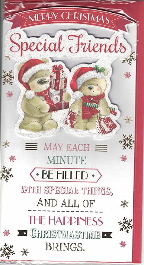 Friends Christmas Card To Very Special Friends Cute Bears Xmas Tree With Bow