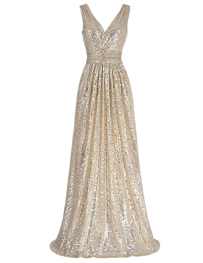 Vintage 50s Dresses: Best 1950s Dress Styles Kate Kasin Women Sequin Bridesmaid Dress Sleeveless Maxi Evening Prom Dresses $54.99 AT vintagedancer.com