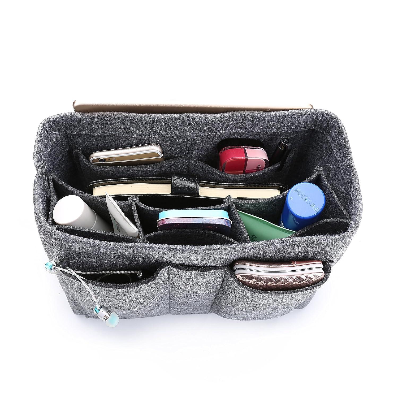 Grey AMASSANPortable Multifunction Purse Organizers Insert Handbag Organizer Bag in Bag