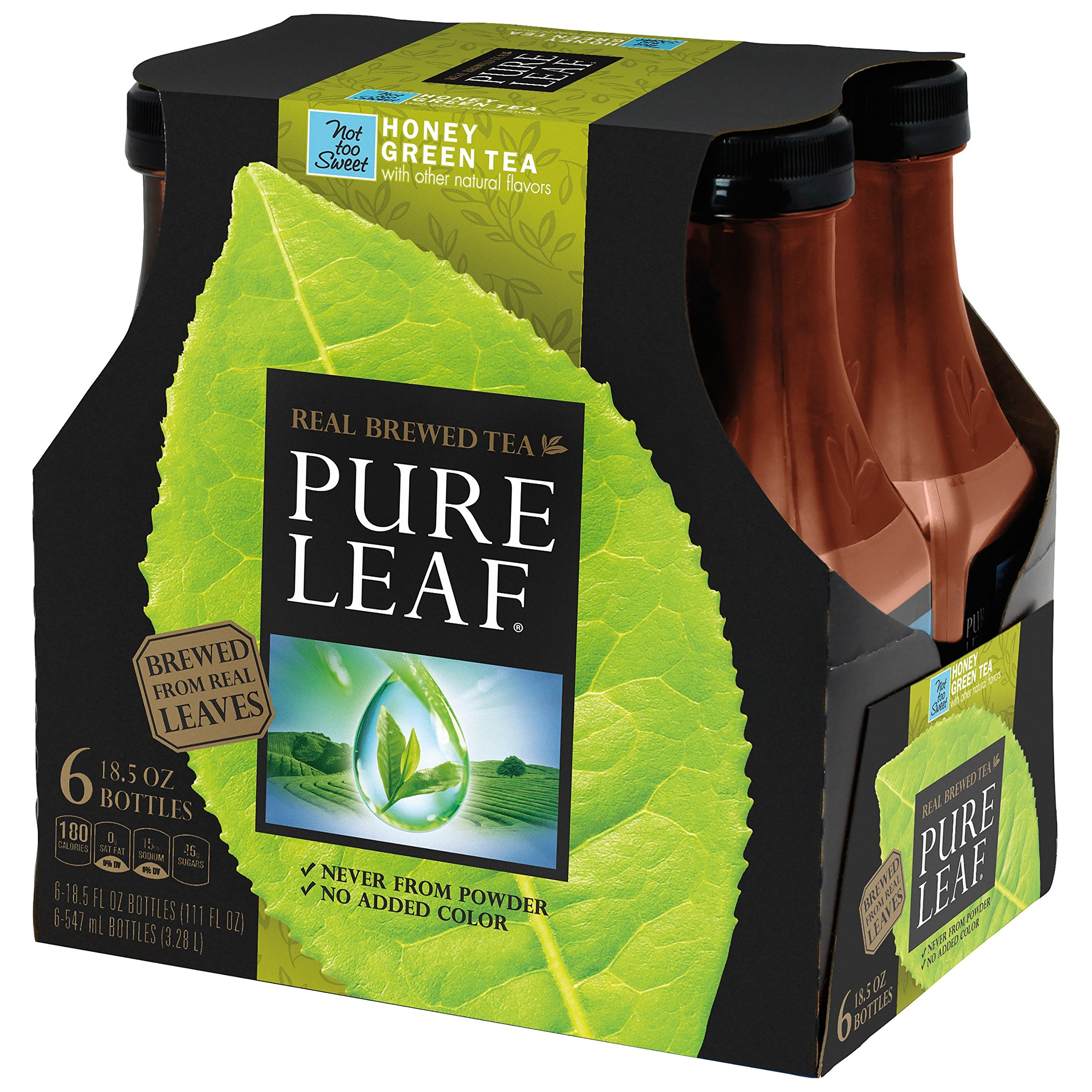 Pure Leaf Iced Tea, Not too Sweet Green Tea with Honey, Real Brewed Tea, 0 Calories, 18.5 Ounce Bottles (Pack of 6)