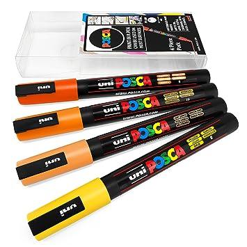 Uni Posca   Pc 3 M Art Paint Markers   Set Of 4   In Plastic Wallet   Sunrise Tones by Uni Ball Posca
