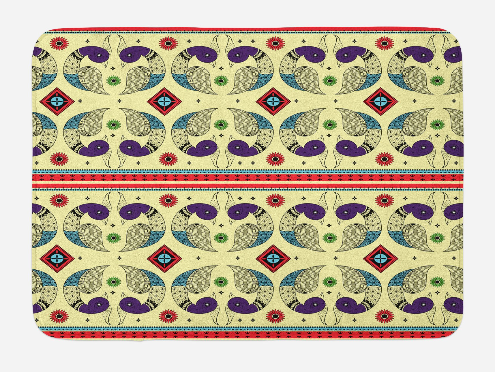 Ambesonne Tribal Bath Mat, Ethnic and Creative Peacock Pattern with Flowers Abstract Native America Art, Plush Bathroom Decor Mat with Non Slip Backing, 29.5 W X 17.5 W Inches, Cream and Purple