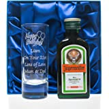 Engraved/Personalised BIRTHDAY Tall SHOT Glass & Jagermeister 4cl Gift Set in Silk Box For 18th/21st
