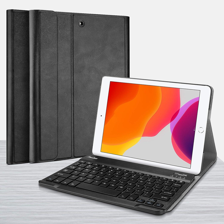 ProCase Coque Clavier QWERTY Bluetooth pour iPad 10.2 Slim Smart Keyboard /Étui Housse de Protection avec Clavier sans Fil D/étachable pour Apple iPad 10.2 Pouces 7/ème G/én/ération A2197//A2198//A2200-Noir