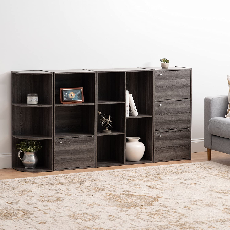 IRIS USA 596484 CX-23C 5-Compartment Wood Organizer Bookcase Storage Shelf Gray