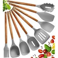 Juego Utensilios de Cocina de Silicona - 8 Piezas Utensilios de Cocina Madera Resistentes al Calor y Antiadherentes con…