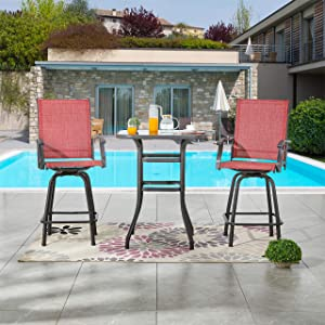 LOKATSE HOME 3 Pcs Bar Stools Set 2 High Swivel Chairs and 1 Height Outdoor Bistro Table, Patio Furniture, Red Tesling Fabric