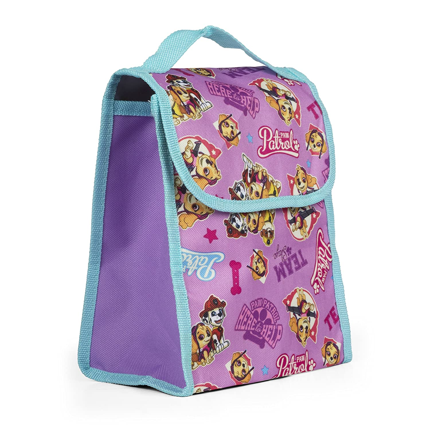 Nickelodeon Paw Patrol Girls Purple Insulated Lunch Bag, Reusable Outdoor Travel Picnic School Lunch Box Collapsible Tote Bag with Front Pocket, Foldable & Multi-use for Kids KADPPGLK
