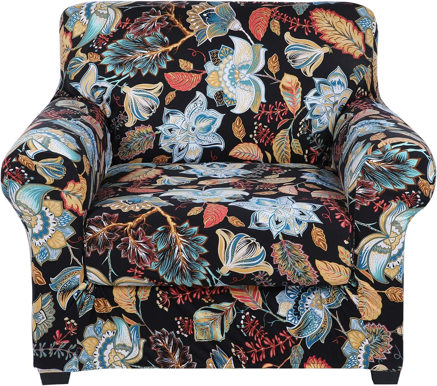 hyha Printed Couch Chair Cover - Floral Pattern Sofa Cover with Separate Cushion Cover, 2 Piece Stretch Armchair Slipcover Washable Furniture Protector (Armchair, Floral)