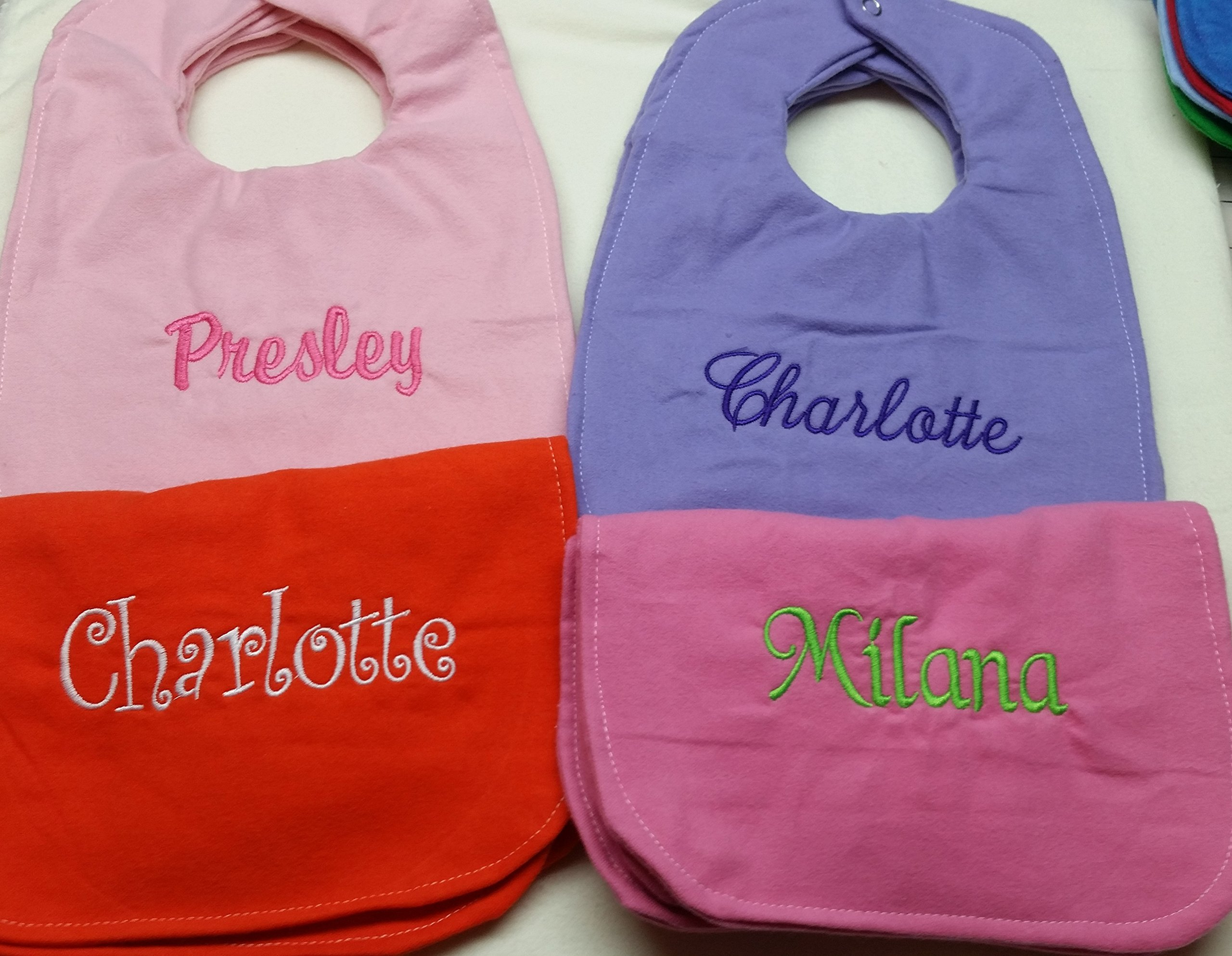 Set of Four Baby Bibs Girls Colorful Set with Custom Name Gift