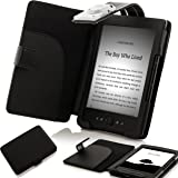 "ForeFront Cases® Custodia in similpelle con LUCE Nero - per Nuovo Amazon Kindle 4 Schermo da 6"" a inchiostro elettronico, Wi-Fi, Nero - 5th Generazione (Rilasciato il Settembre 2012) - Custodie Case Cover"