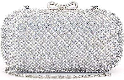 d47a9c9890 MagicLove Women Evening Bag Rhinestone Crystal Clutch Purse with Bow  Closure AB Silver
