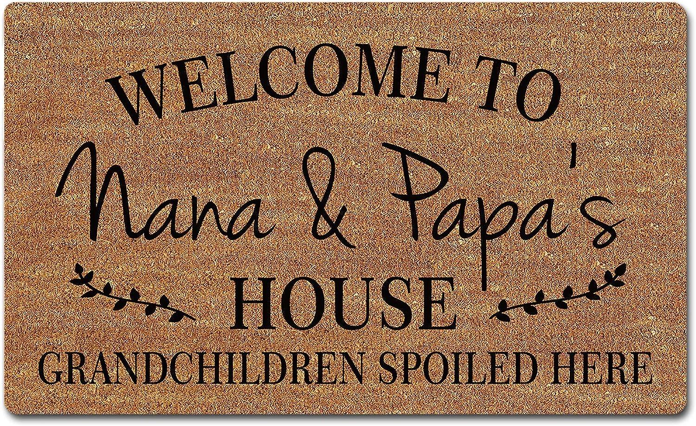 FZYTMY Funny Doormat Welcome to Nana and Papa's House Grandchildren Spoiled Here Indoor Outdoor Entrance Floor Mat Home Front Door Mat Non Slip Backing 23.6 X 15.7 Inch