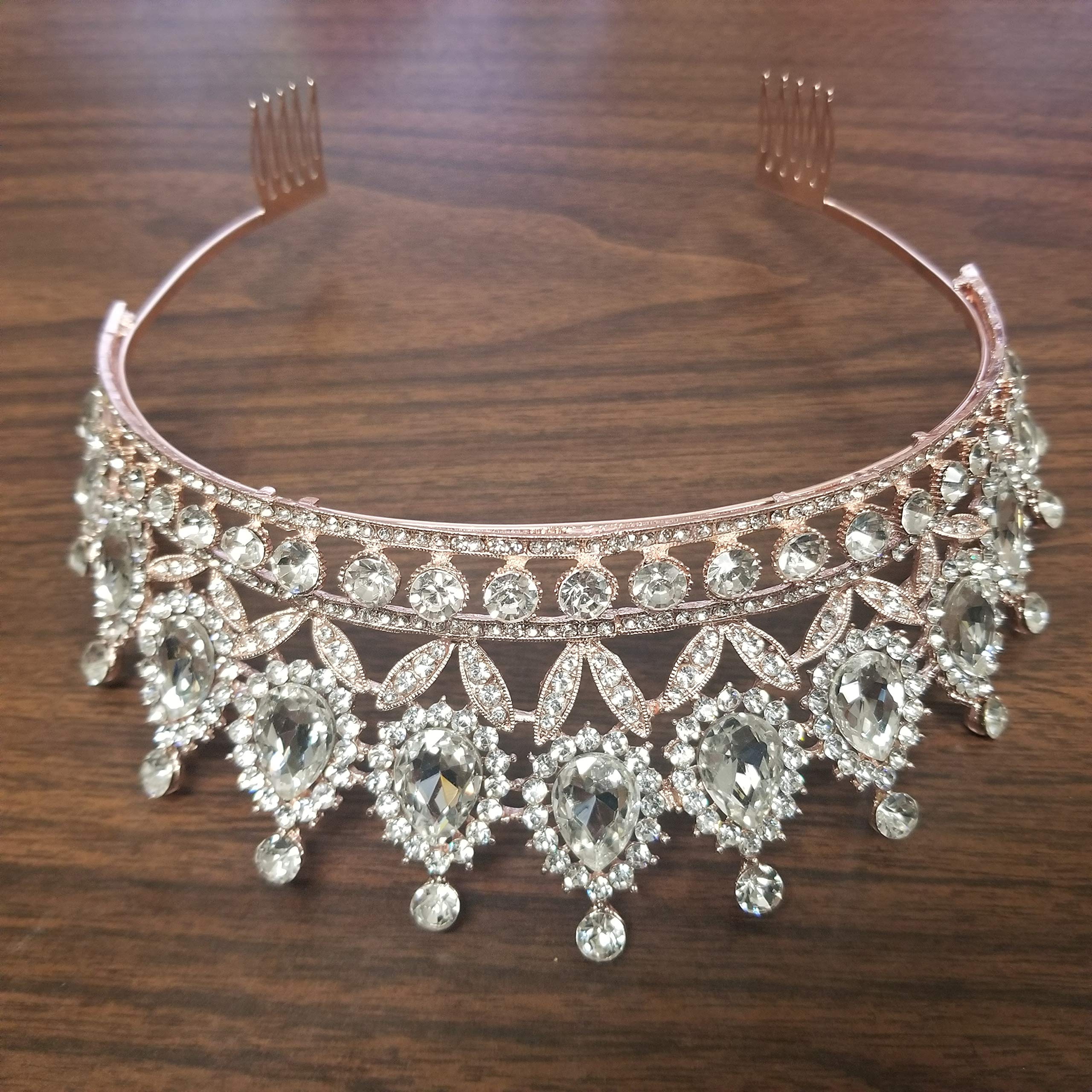 Weddingtopia Crystal Princess Pageant Rose Gold Wedding Tiara For Bride Plus Wedding Rhinestone Necklace and Earring Set - Rhinestone Bridal Tiara Crown with side combs (ROSE GOLD CLEAR) by Weddingtopia