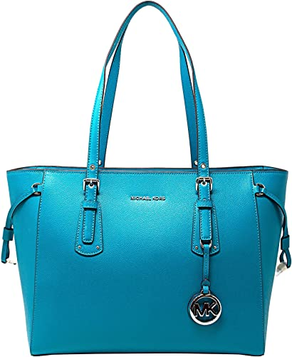 f6231cca6a02 MICHAEL Michael Kors Voyager Medium Multifunction Top-Zip ToteTile blue   Amazon.in  Shoes   Handbags