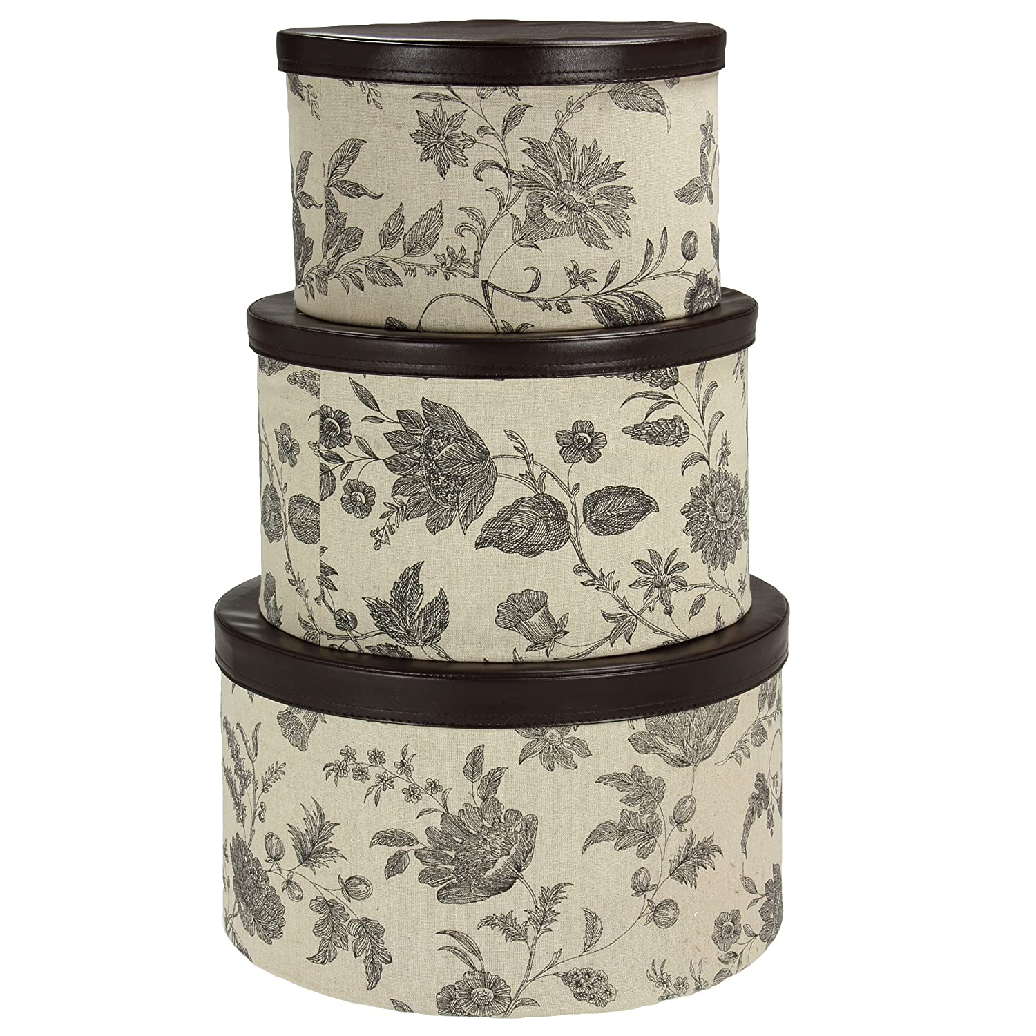 Household Essentials 3-Piece Hat Box Set with Faux Leather Lids, Floral Pattern 619-1