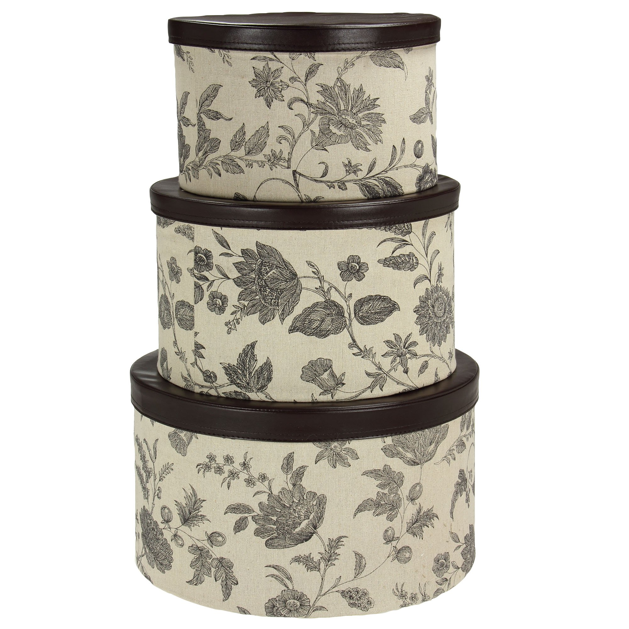 Household Essentials 3-Piece Hat Box Set with Faux Leather Lids, Floral Pattern by Household Essentials