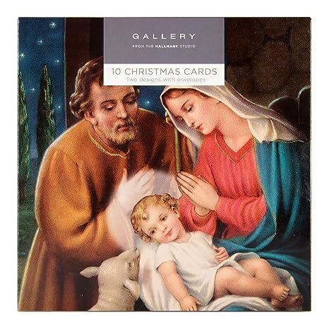 Biglietti Di Natale Religiosi.Hallmark Confezione Da 10 Biglietti Di Natale A Tema Religioso 2 Illustrazioni
