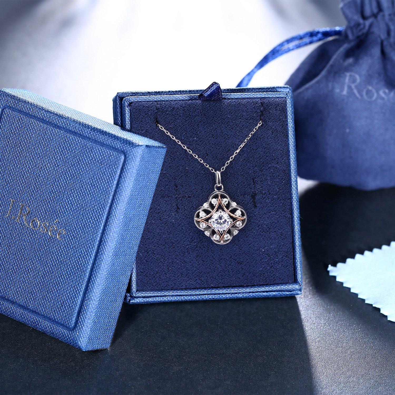 Cadeau Parfait 5A Zirconium cubique Blanc Cha/îne 45+5CM J.Ros/ée Collier Bijoux Femme//Fille Argent 925