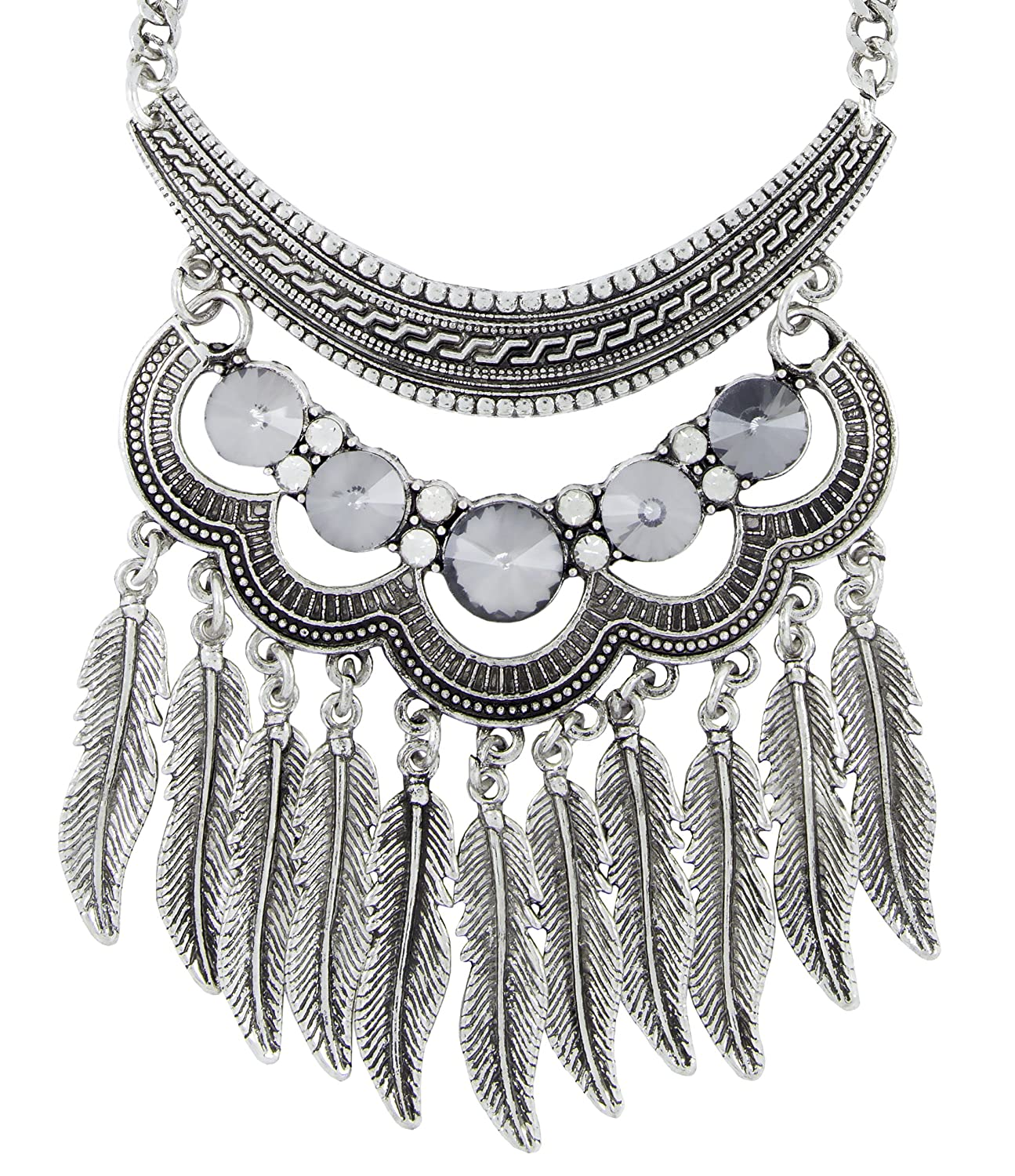 ZIVOM/® Tribal Bohemian Afghani Statement Turquoise Antique Oxidised Silver Long Necklace Chain Girls Women