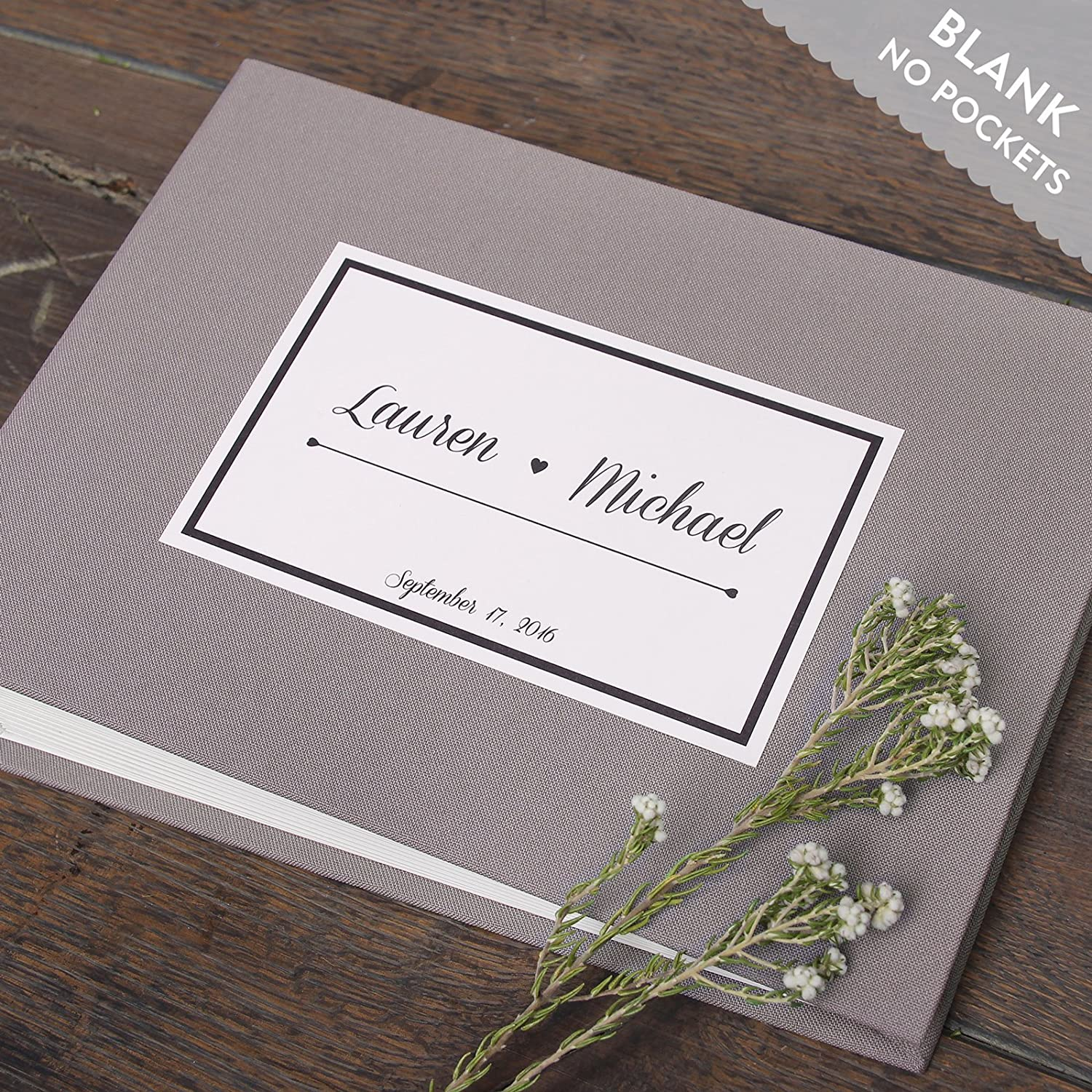 Wedding Instant Guestbook Gray with Personalised Paper Label Sign in Book- with empty pages