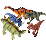 Boley 5 Piece Authentic Educational Dinosaurs With Dinosaur Education Tags - Dinosaur Educational Toy Playset - Great as Kids Dinosaurs, Dinosaur Party Favors, and Dinosaur Party Supplies
