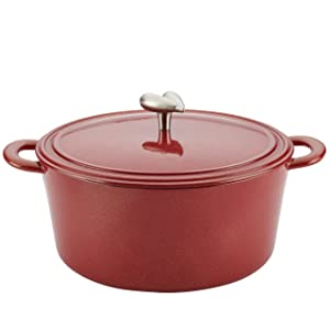 Ayesha Curry Cast Iron Enamel Covered Dutch Oven, 6-Quart, Sienna Red