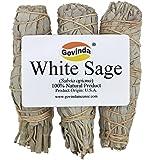 Govinda - Pack of 3 Premium Mini White Sage Smudge Stick, 4 Inch Long