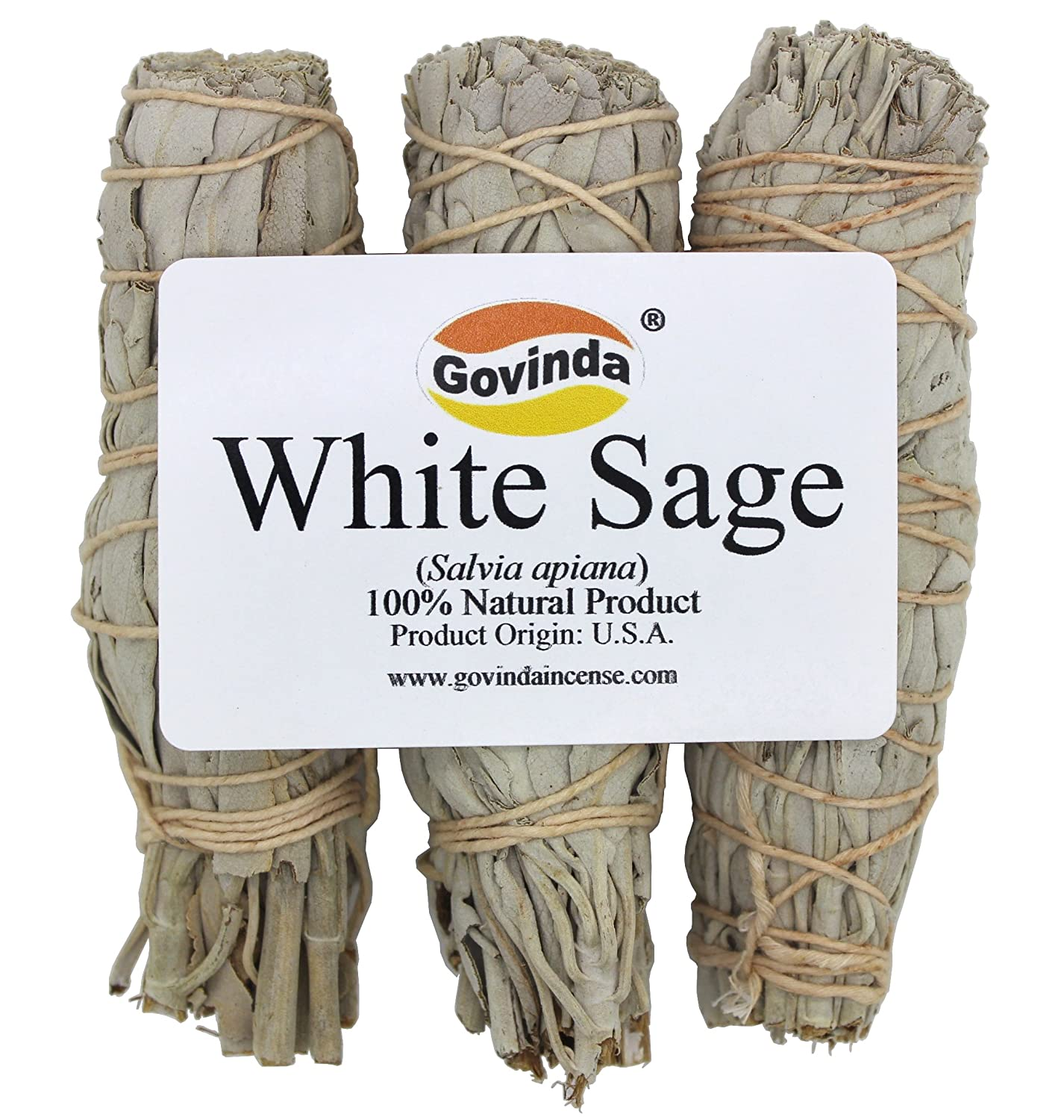 Govinda Premium California White Sage Smudge Sticks, 4 Inch Long, Pack of 3 Govinda®