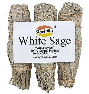 Govinda Premium California White Sage Smudge Sticks, 4 Inch Long, Pack of 3