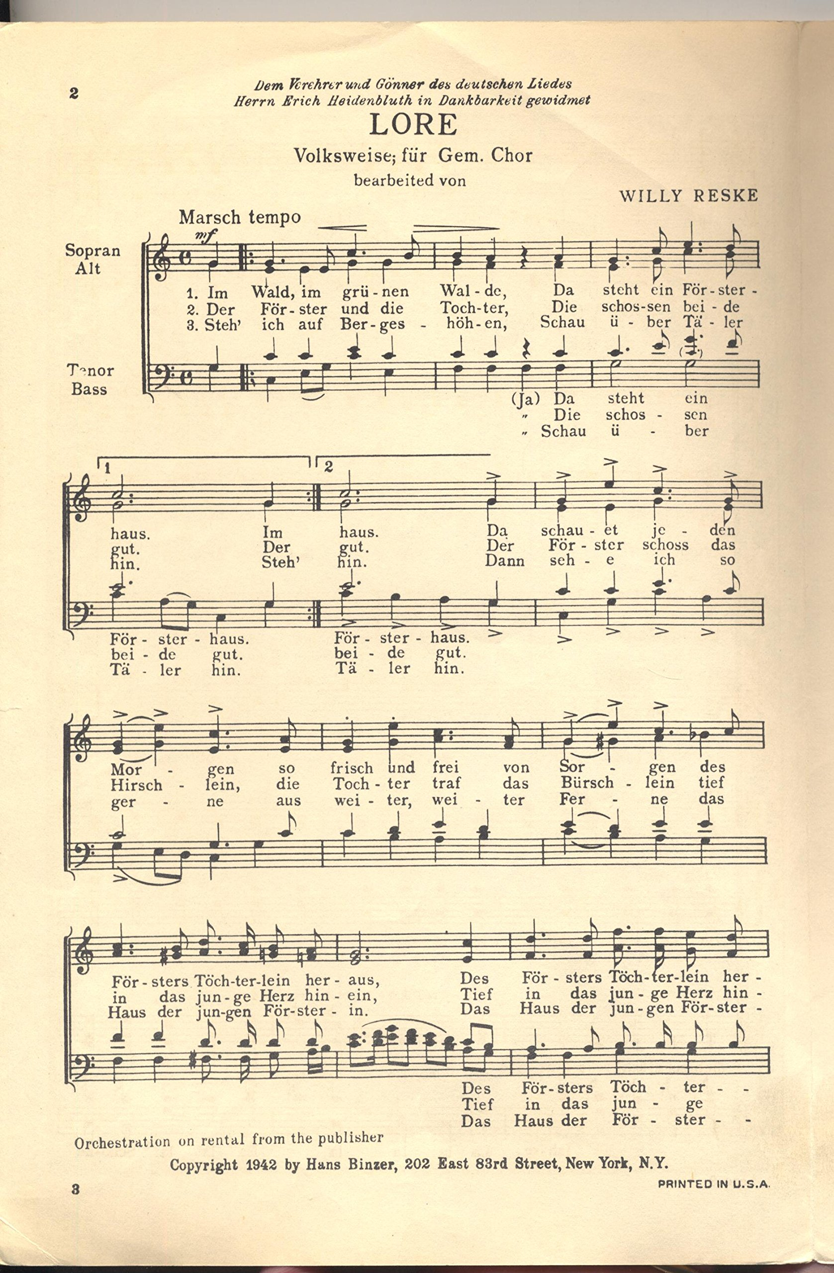 Lore--A German Folk Song SATB A Capella: Willy Reske: Amazon