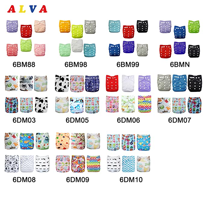 Paquete de 6 pañales de tela lavables y ajustables, de Alva Baby, con 12 inserciones, de bolsillo marrón set 6BM88 Talla:All in one: Amazon.es: Bebé