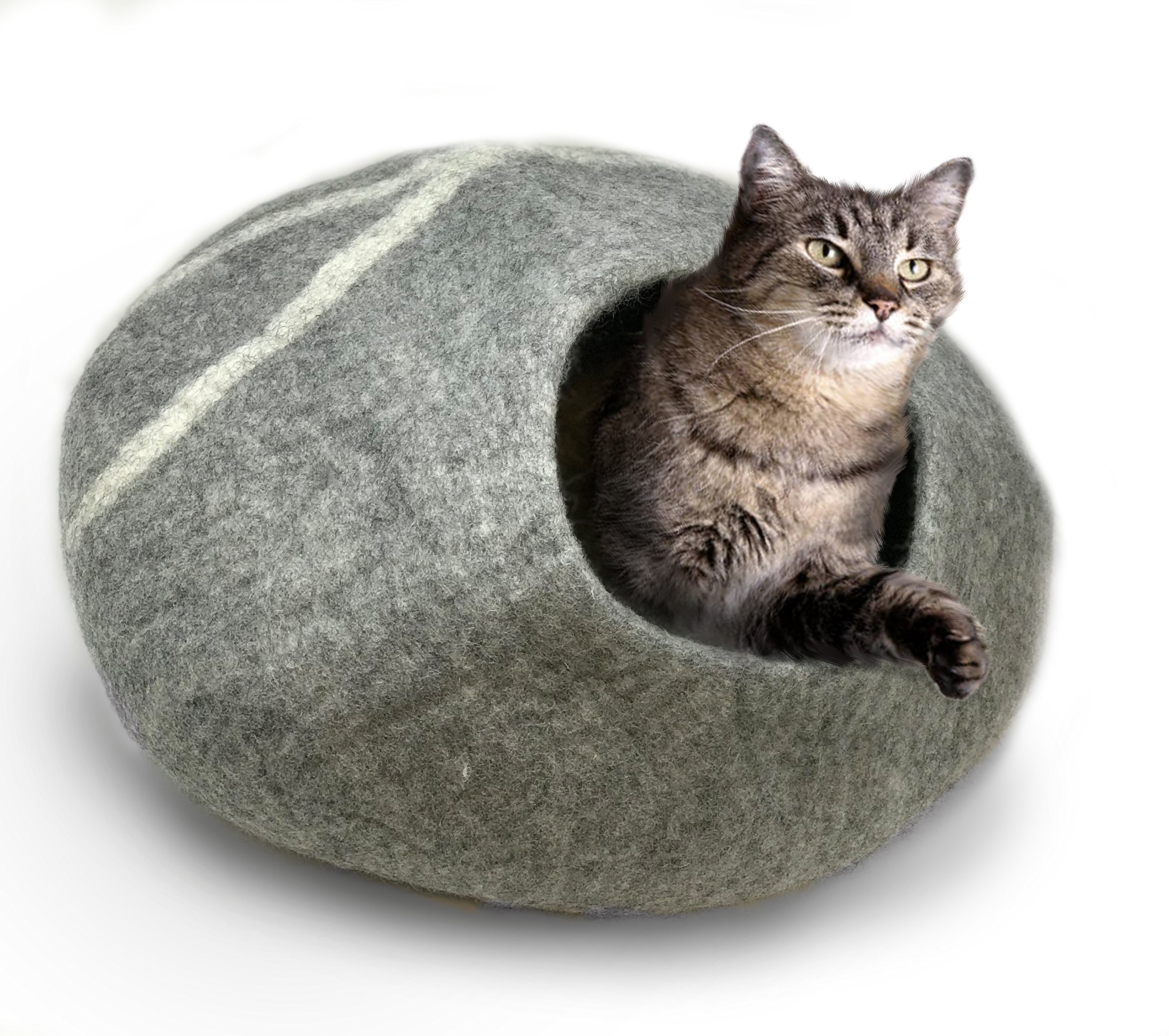 iPrimio 100% Natural Wool Eco-Friendly 40 cm Cat Cave - Handmade Premium Shaped Felt - Makes Great Covered Cat House and Bed for Cats & Kittens - for Indoor Cozy Hideaway((Light Gray) by iPrimio