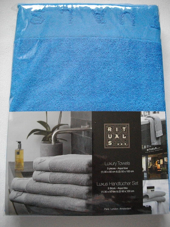Luxus Handt/ücher Handt/ücher Set G/ästehandt/ücher Rituals 3er Set Aqua Blau 100/% Baumwolle