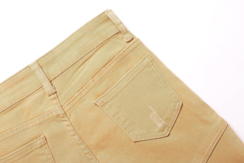 Boys Khaki Biker Moto Ripped Distressed Fashion Skinny Slim Fit Jeans JY20170522boy