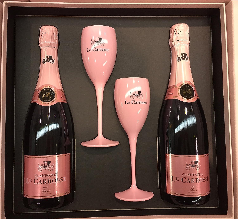 Estuche 2 botellas Le Carrosse Rosé 75 cl con 2 copas ...