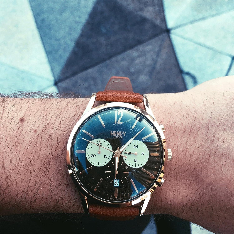 Henry London Reloj Cronógrafo para Hombre de Cuarzo con Correa en Cuero HL41-CS-0190: Amazon.es: Relojes