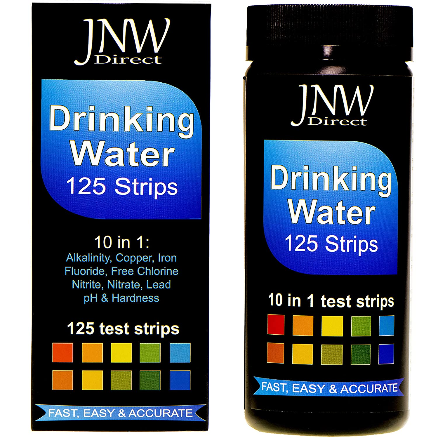 JNW Direct Drinking Water Test Strips 10 in 1, Best Kit for Accurate Water Quality Testing at Home, 125 Strips MEGA Pack, Easy to Read & Instant Results (Packaging May Vary)