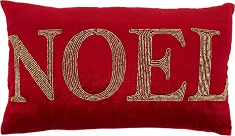 Amazon Com Saro Lifestyle Christmas Collection Beaded Noel Throw Pillow With Down Filling 12 X 20 Red Home Kitchen