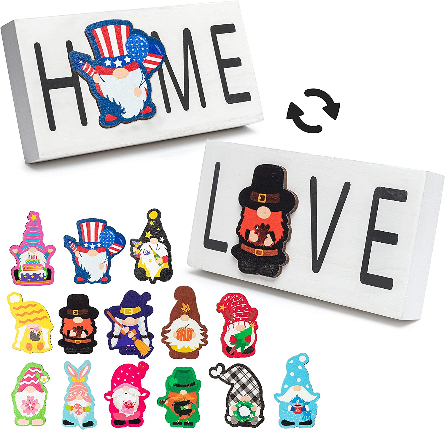 MALLMALL6 15Pcs Gnome Home Love Sign Interchangeable White Double Side Wooden Printed Elf Signs Magnetic Seasonal Crafts Kits for Independence Day Halloween Home Decors Holiday Family Ornaments